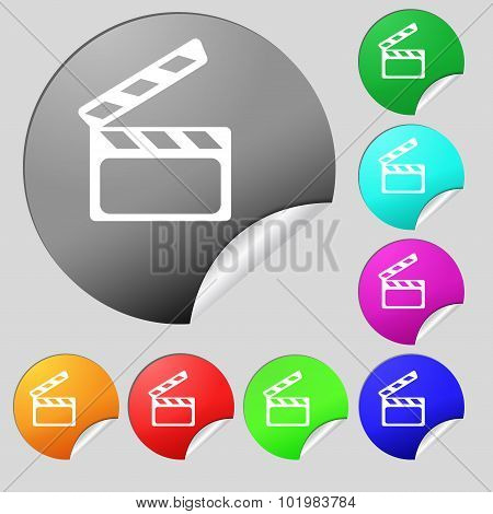 Cinema Clapper  Sign Icon. Video Camera Symbol. Set Of Eight Multi Colored Round Buttons, Stickers.