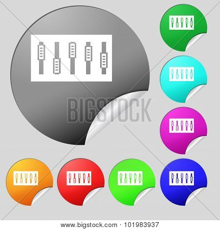 Dj Console Mix Handles And Buttons Icon Symbol. Set Of Eight Multi Colored Round Buttons, Stickers.