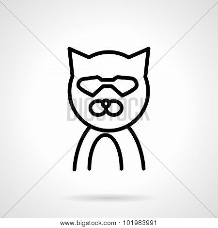 Cat in glasses simple line vector icon