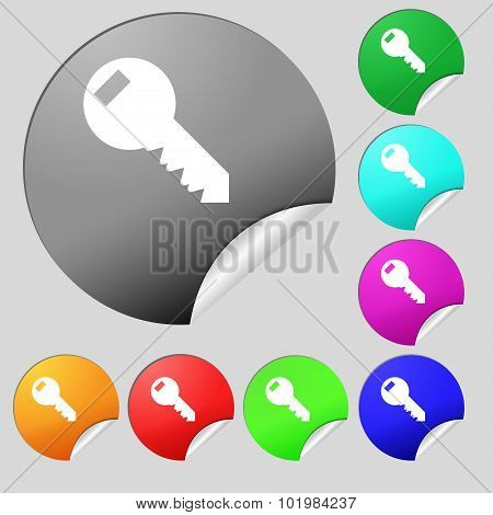 Key Sign Icon. Unlock Tool Symbol.. Set Of Eight Multi Colored Round Buttons, Stickers. Vector