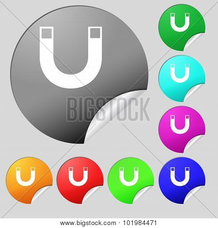 Magnet Sign Icon. Horseshoe It Symbol. Repair Sig. Set Of Eight Multi Colored Round Buttons, Sticker