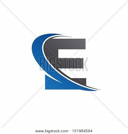 E blue swoosh logo