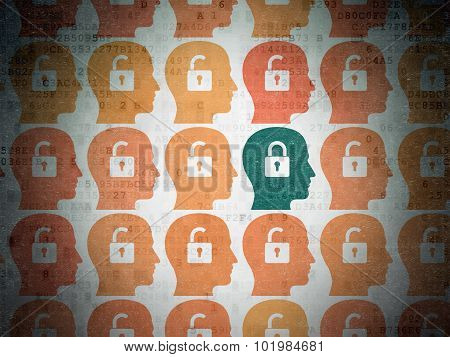 Finance concept: head with padlock icon on Digital Paper background