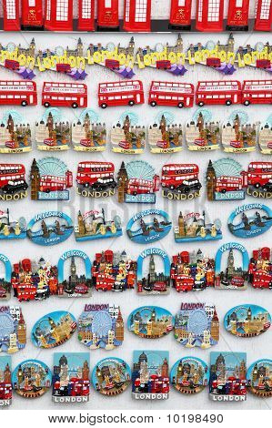 Few rows of magnet souvenirs from London: Big Ben red bus phone