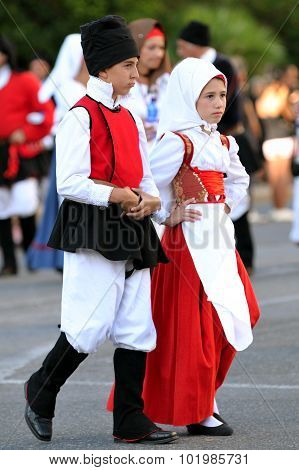 Traditional Costumes Of Sardinia.