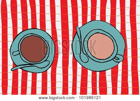 Illustration of a topview table with two cups  coffee