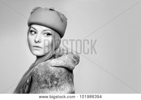 close portrait of beautiful blond woman in retro vintage style