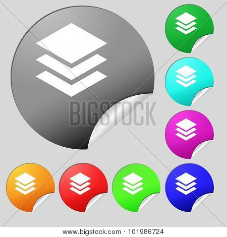 Layers Icon Sign. Set Of Eight Multi Colored Round Buttons, Stickers. Vector