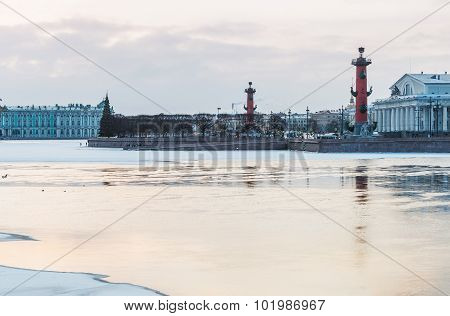 Spit Of Vasilievsky Island In Winter In Saint Petersburg At Dawn