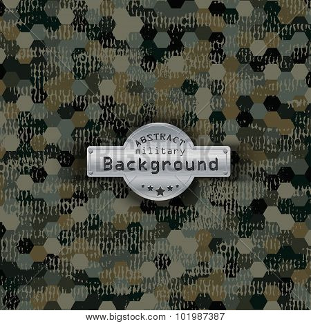 Camouflage military hexagon pattern background. Vector illustration, EPS10