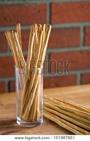 breadsticks grissini on kitchen table