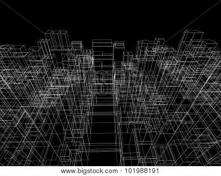 Digital Background With Cubic 3D Structure