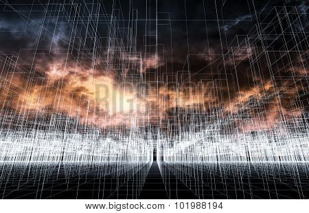 Digital 3D Landscape Background, Wire Frame