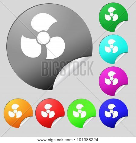 Fans, Propeller Icon Sign. Set Of Eight Multi Colored Round Buttons, Stickers. Vector