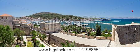 Panoramic view of Cesme from the castle, Turkey