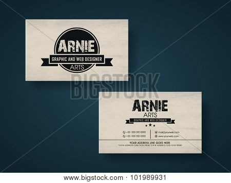 Creative horizontal business card or visiting card for Graphic and Web Designer.