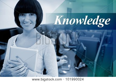 The word knowledge against teacher with tablet pc