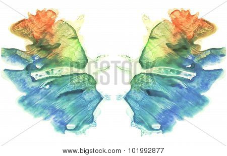 Rorschach. Watercolor picture. Abstract background. Blue, orange, yellow and green p