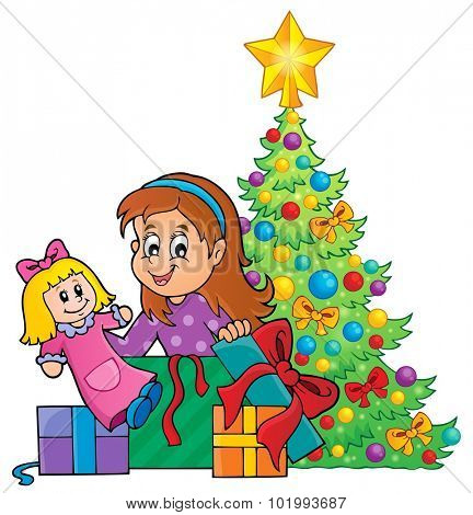 Girl unpacking Christmas gifts theme 1 - eps10 vector illustration.