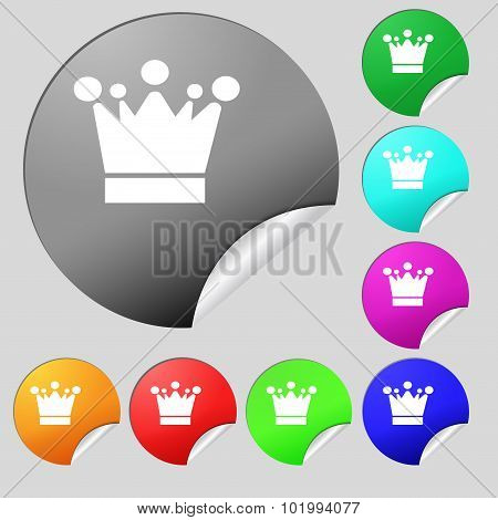 Crown Icon Sign. Set Of Eight Multi Colored Round Buttons, Stickers. Vector