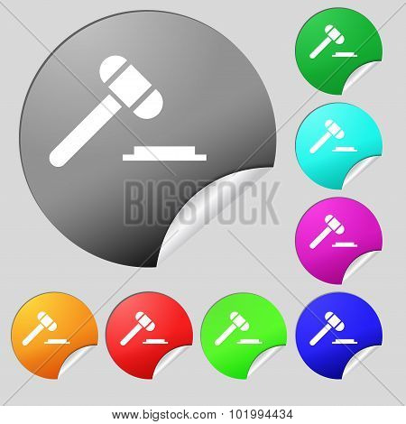 Judge Hammer Icon. Set Of Eight Multi Colored Round Buttons, Stickers. Vector