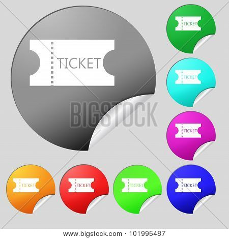 Ticket Icon Sign. Set Of Eight Multi Colored Round Buttons, Stickers. Vector
