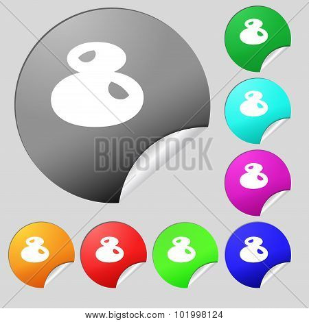 Number Eight Icon Sign. Set Of Eight Multi Colored Round Buttons, Stickers. Vector