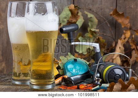 Oktoberfest With Fishing Tackles And Glass A Beer