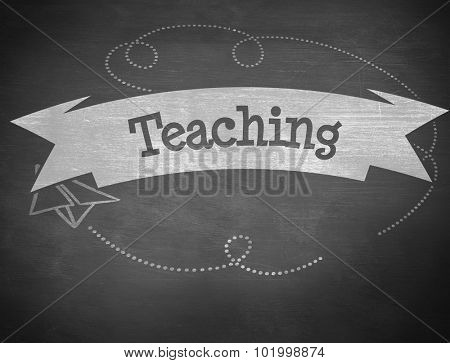 The word teaching and school graphics against black background