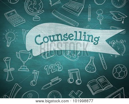The word counselling and school doodles against green chalkboard