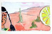 Постер, плакат: Watercolor Injun Cacti And Big Lemon