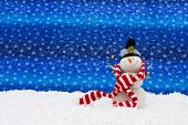 picture of winter scene  - Snowman with a scarf on snow Winter Scene - JPG