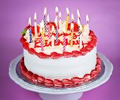 foto of birthday-cake  - Birthday cake with burning candles on a plate on pink background - JPG