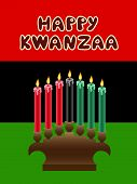 image of unity candle  - kwanzaa kinara with The Black Liberation Flag as backdrop - JPG