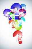 picture of question-mark  - question marks of different colors drawn on a white background - JPG