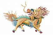 stock photo of chinese unicorn  - Chinese unicorn in Chinese temple at Chonburi Thailand - JPG