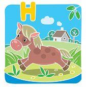 Постер, плакат: Little horse or pony Alphabet H