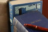 picture of short-story  - stack of old stories and tales books - JPG
