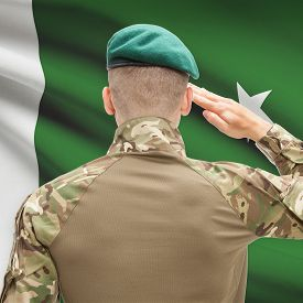 stock photo of pakistani flag  - Soldier in hat facing national flag series  - JPG