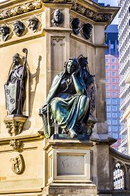 foto of frankfurt am main  - The Johannes Gutenberg monument on the southern Rossmarkt (1854 - 1858 by sculptor Eduard Schmidt von der Launitz). Johannes Gutenberg - inventor of book printing. Frankfurt am Main Germany. ** Note: Visible grain at 100%, best at smaller sizes - JPG