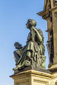 pic of frankfurt am main  - The Johannes Gutenberg monument on the southern Rossmarkt (1854 - 1858 by sculptor Eduard Schmidt von der Launitz). Johannes Gutenberg - inventor of book printing. Frankfurt am Main Germany. ** Note: Visible grain at 100%, best at smaller sizes - JPG