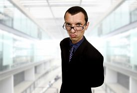 picture of distort  - young distorted business man at the office - JPG