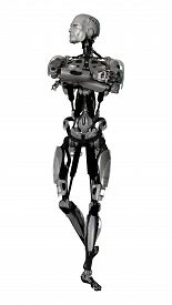 image of cyborg  - 3D digital render of a male cyborg isolated on white background - JPG