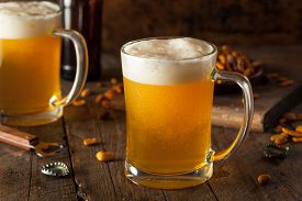 picture of stein  - Golden Beer in a Glass Stein for Oktoberfest  - JPG