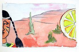 picture of peyote  - Watercolor indian cacti and big lemon hand drawn  - JPG