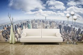 pic of mural  - 3D rendering of a sofa in front of a photo wall mural  - JPG
