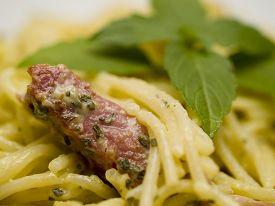 foto of carbonara  - Close up of spaghetti Carbonara shot from below - JPG