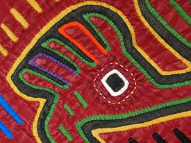 picture of mola  - This is details of a Mola Textile Panel made by the  Kuna women of Panama - JPG