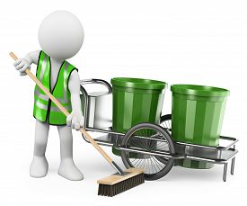 stock photo of sweeper  - 3d white people - JPG