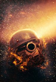 picture of horrific  - Horrific Soldier wearing Gas Mask and Steel Helmet in an Apocalypse War scenario with fire flames and rain in the Background - JPG